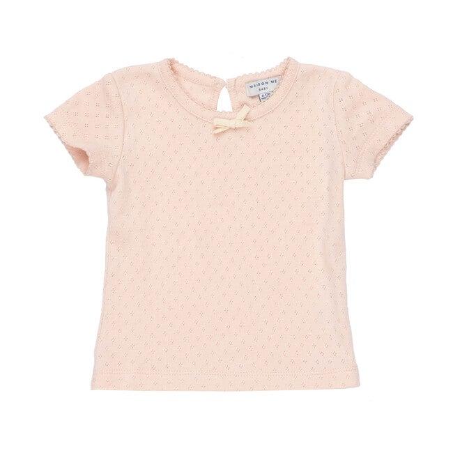 Kai Short Sleeve Tee, Dusty Pink Pointelle
