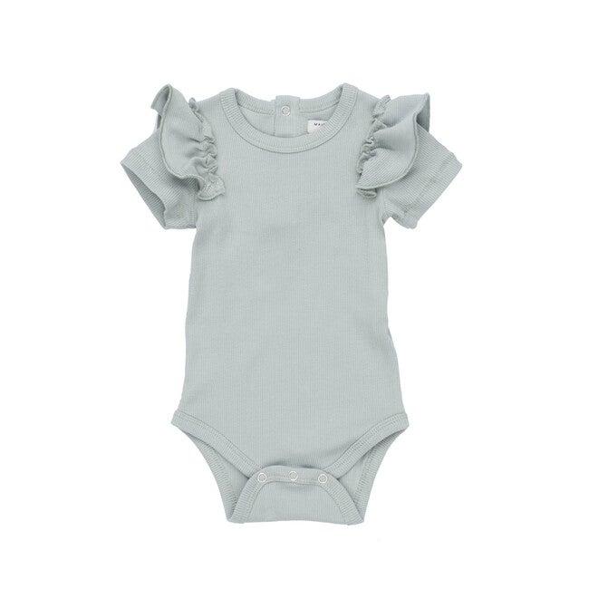 Eden Ruffle Shoulder Bodysuit, Dusty Blue