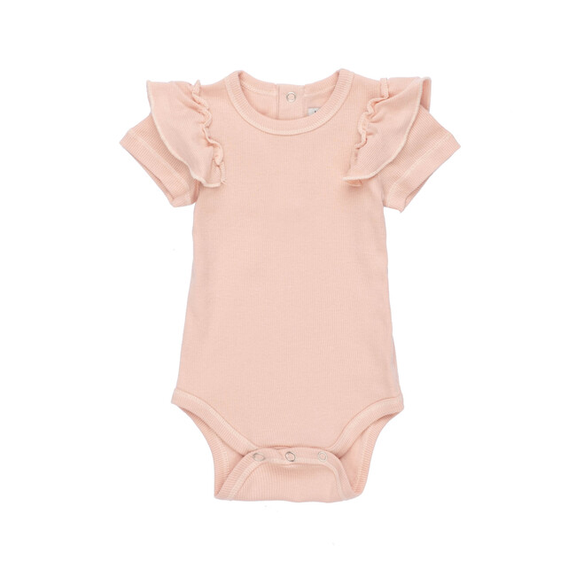 Eden Ruffle Shoulder Bodysuit, Dusty Pink