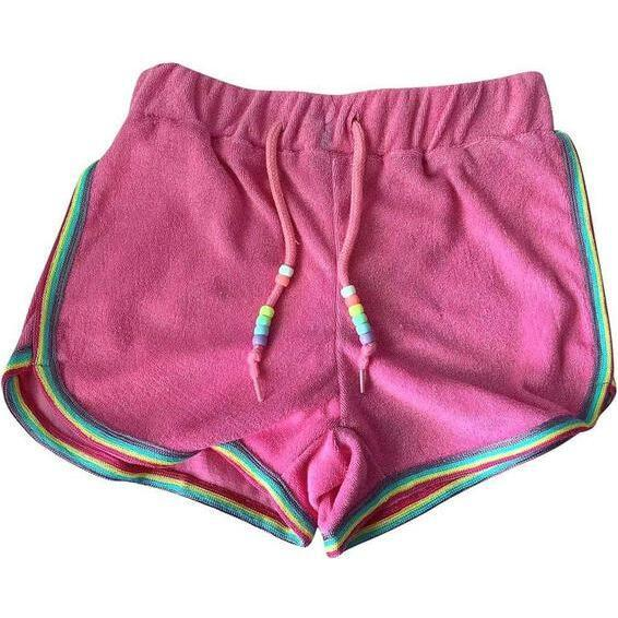 Towel Beaded Racer Short, Pink
