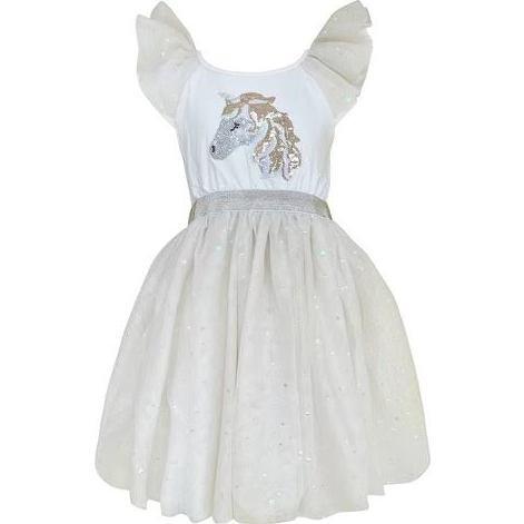Unicorn Dress, White & Gold