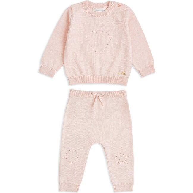 Pointelle Heart Crawler Set in Pink