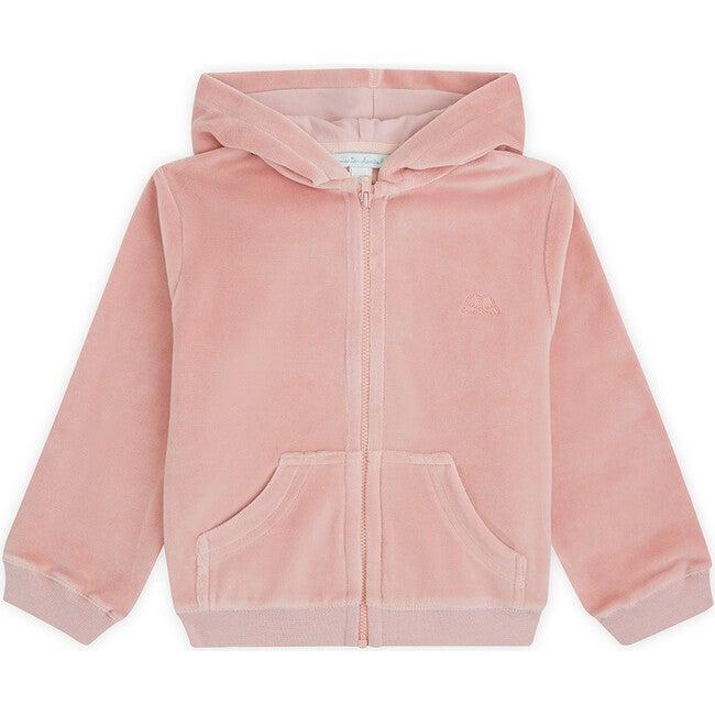 Angel Wing Velour Hooded Sweatshirt, Pink