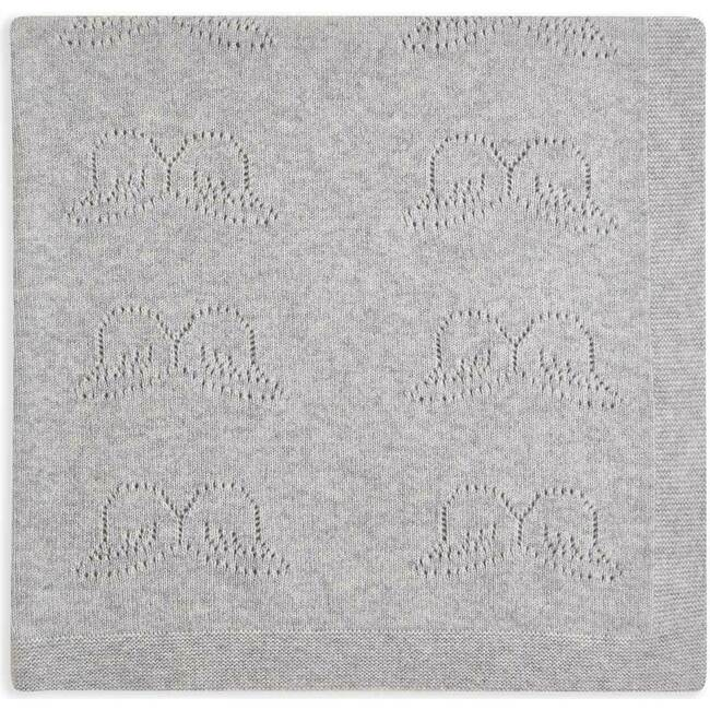 Angel Wing Pointelle Cashmere Blanket, Grey