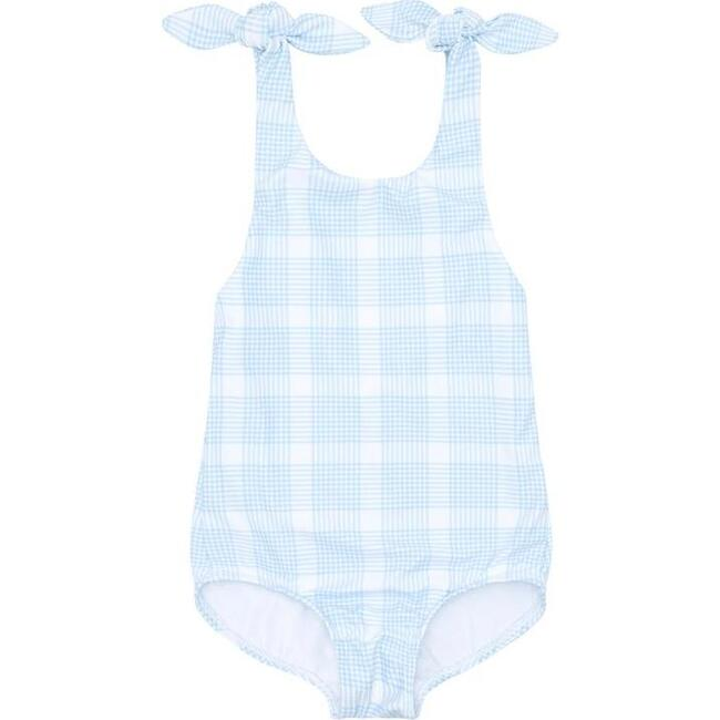 Girl's Sunwashed Plaid Tie Knot One Piece
