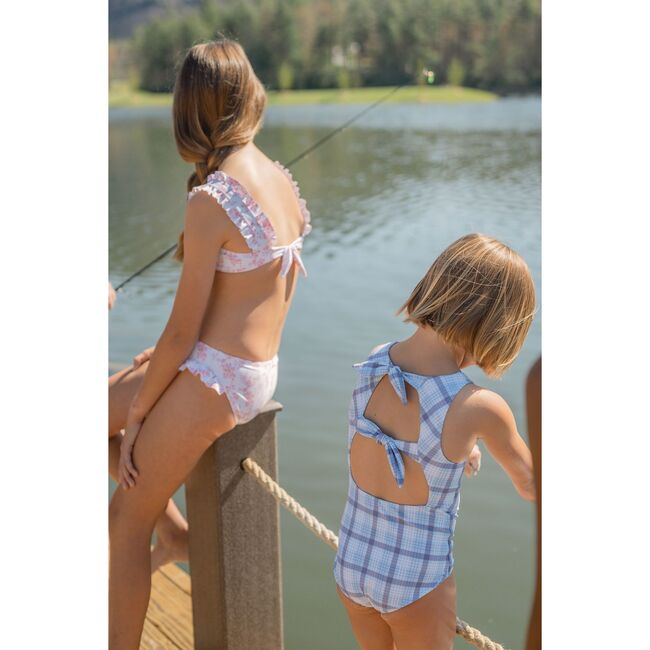 Girl's Maritime Plaid Double Bow One Piece