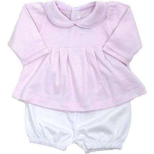 Long Sleeve Swing Top and Short Set - Pink Striped Top, White Short - Mixed Apparel Set - 1