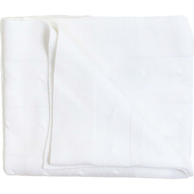 Cable Detail Knit Blanket, White - Blankets - 1