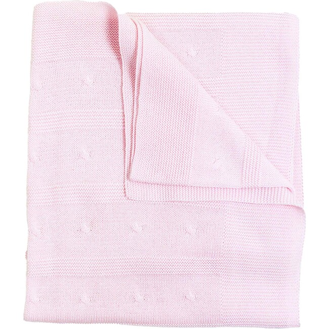 Cable Detail Knit Blanket, Pink