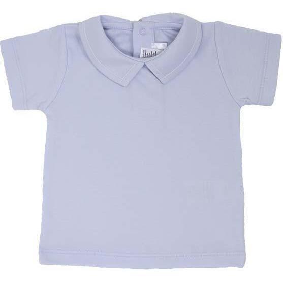 Pointed Collar Short Sleeve Shirt, Light Blue