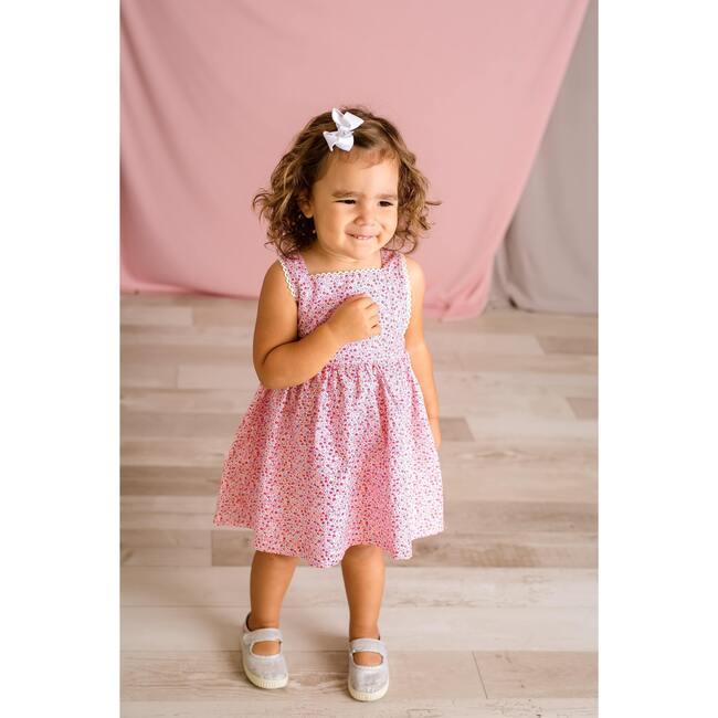 Pink Floral Pinafore Dress, Pink Multi