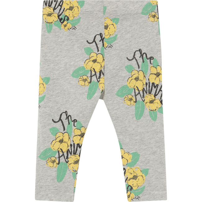 Penguin Baby Leggings, Grey Flowers