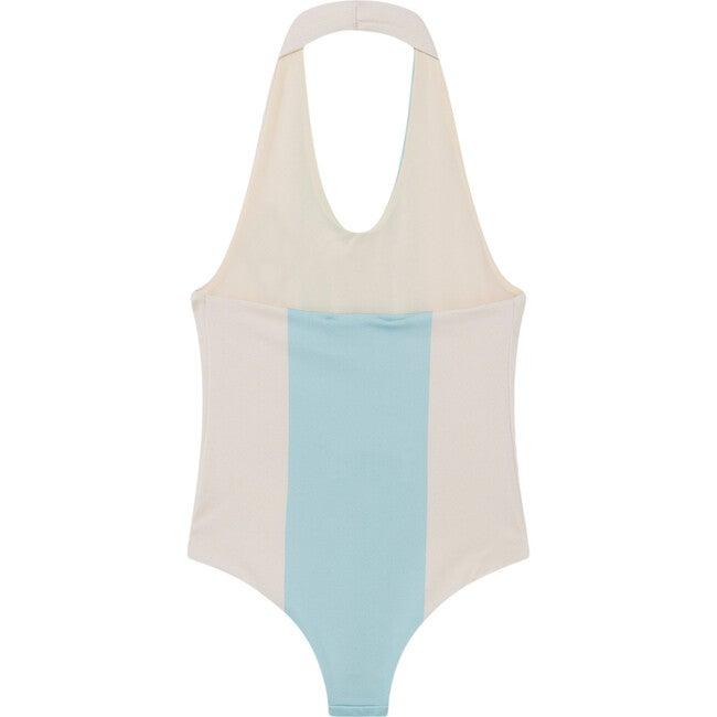 Fish Swimsuit, White Stripe