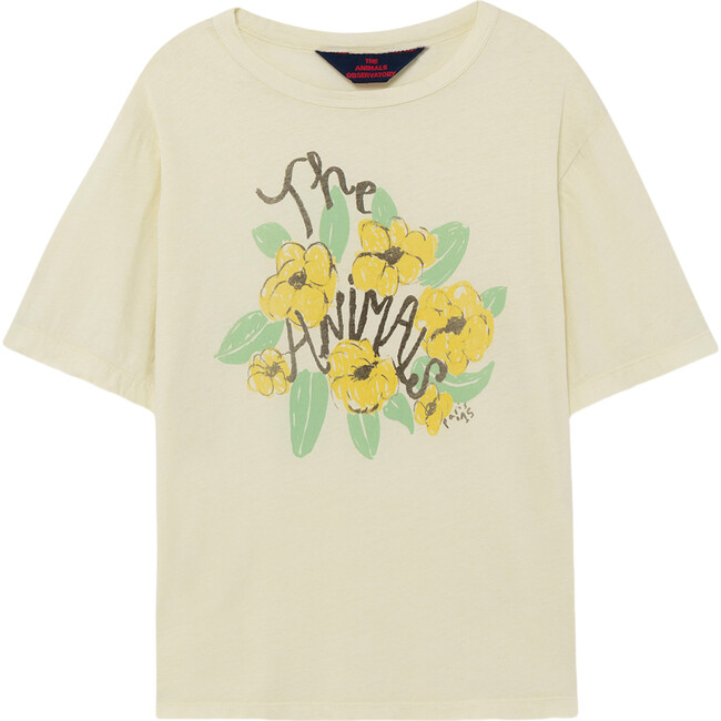 Rooster Oversize T-Shirt, White Flowers
