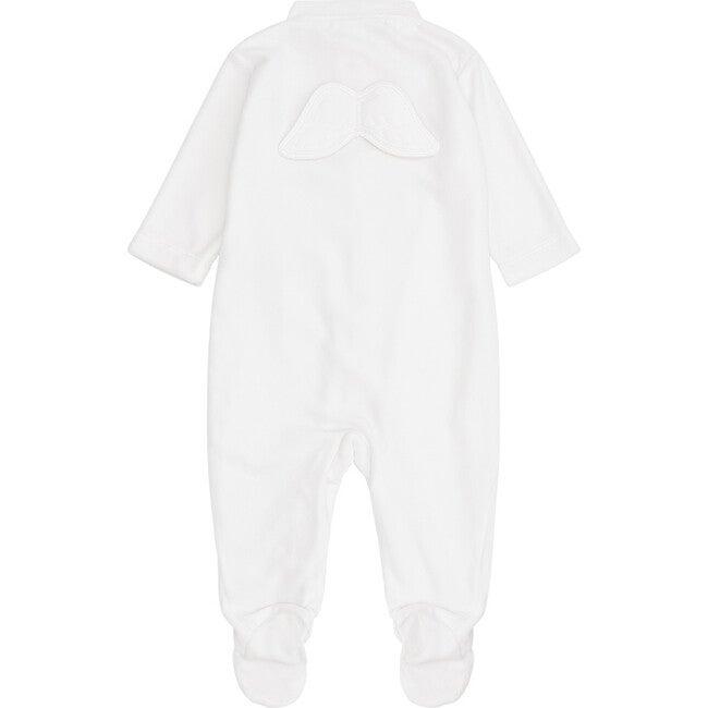 Angel Wing Velour Sleepsuit in White