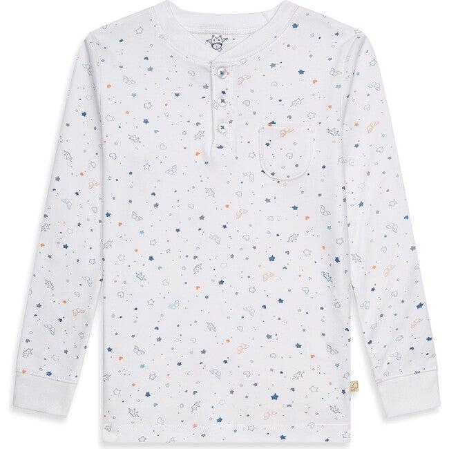 Star & Crown Print Pyjama in Blue