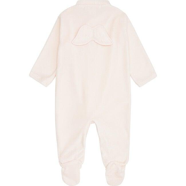 Angel Wing Velour Sleepsuit, Pink