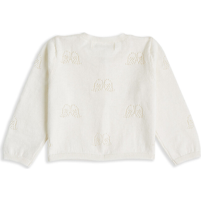 Angel Wing Pointelle Cardigan in Ivory