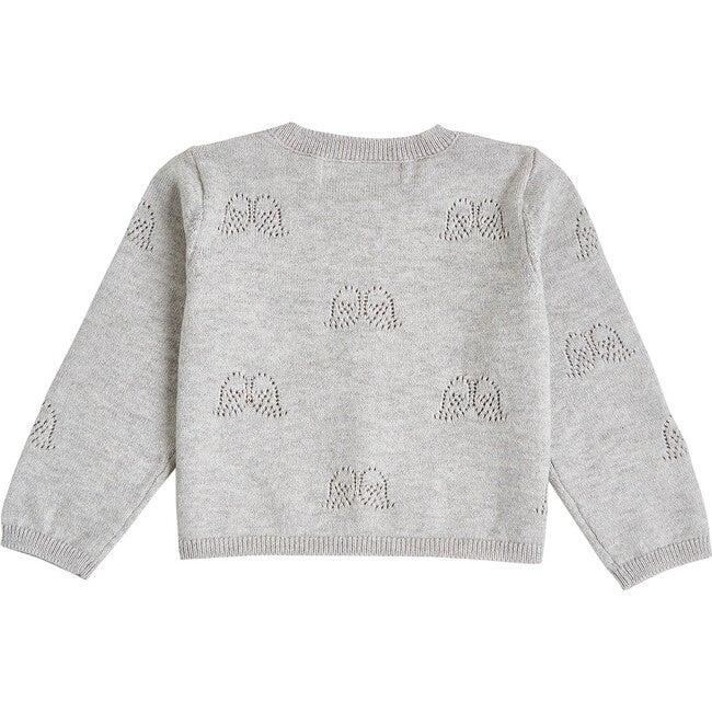 Angel Wing Pointelle Cardigan in Grey