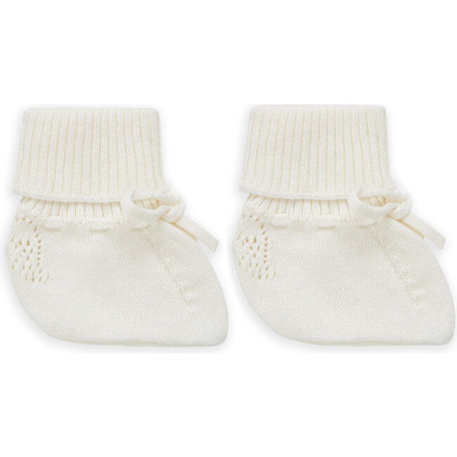 Angel Wing Knitted Booties in Ivory