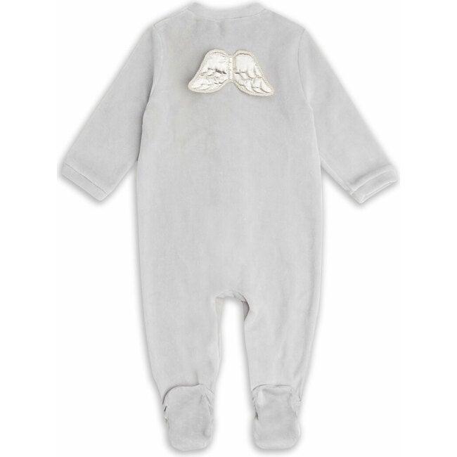 Angel Wing Velour Sleepsuit in Grey