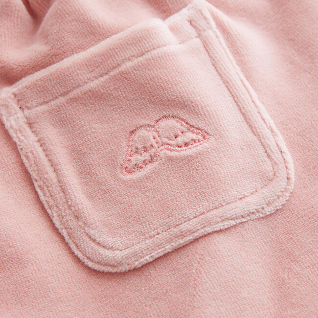 Angel Wing Velour Joggers, Pink