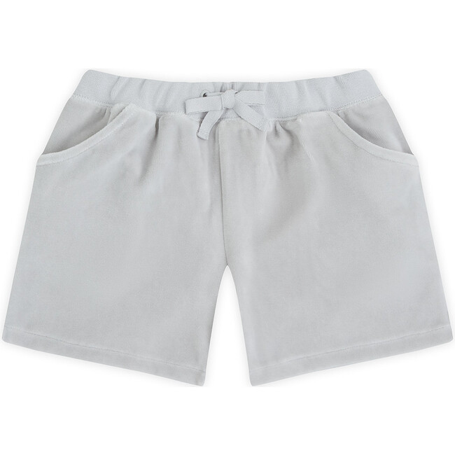 Angel Wing Velour Shorts in Grey