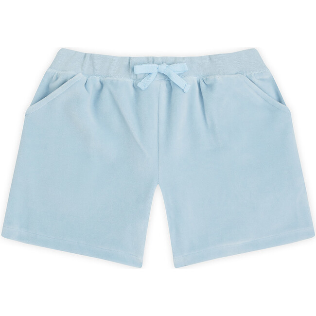 Angel Wing Velour Shorts in Blue