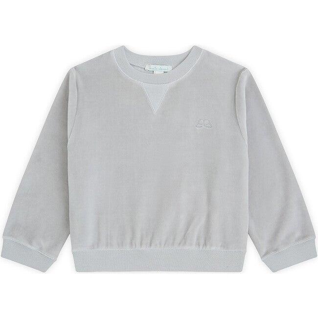 Angel Wing Velour Sweatshirt in Grey