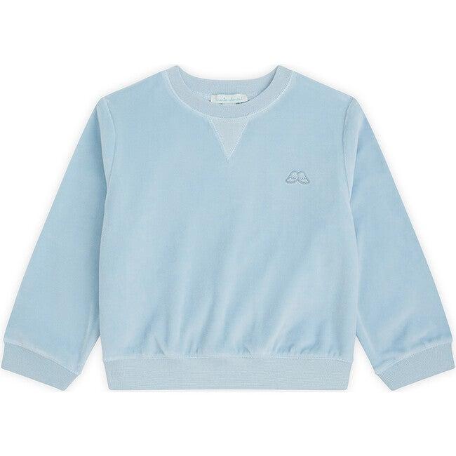 Angel Wing Velour Sweatshirt in Blue