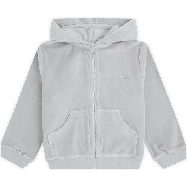 Angel Wing Hooded Velour  Sweatshirt in Grey