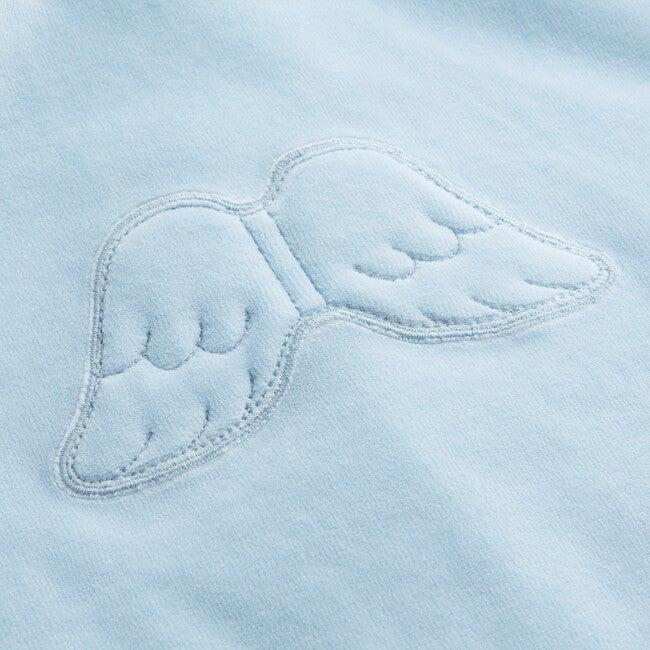 Angel Wing Hooded Velour  Sweatshirt in Blue