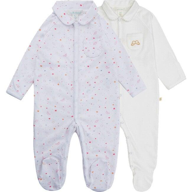 Star & Crown Print Gift Set in White/Pink