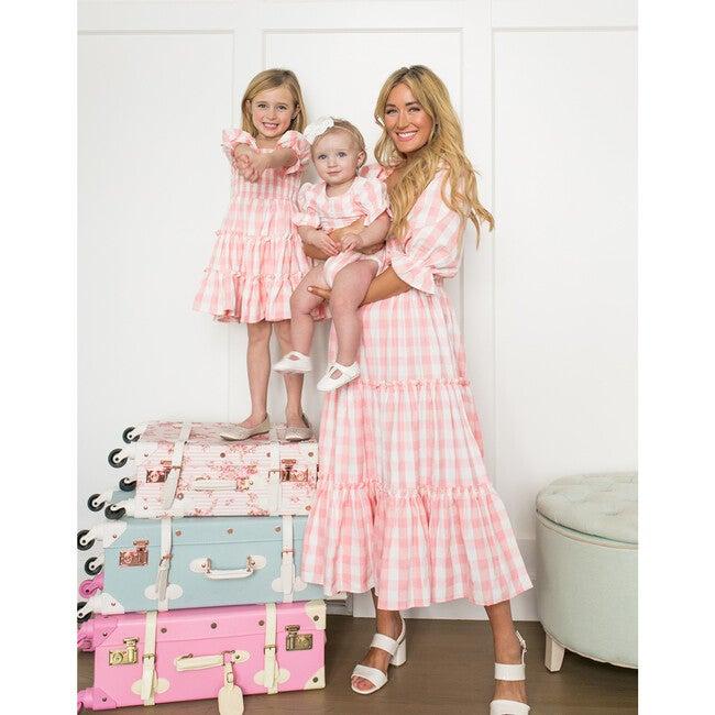 Baby Mia Gingham Bodysuit,Pink