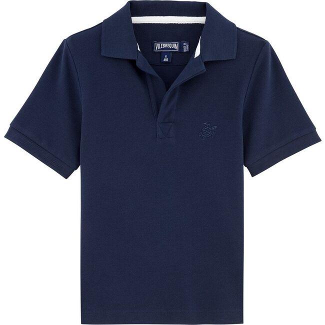 Pique de Coton Polo Shirt, Navy