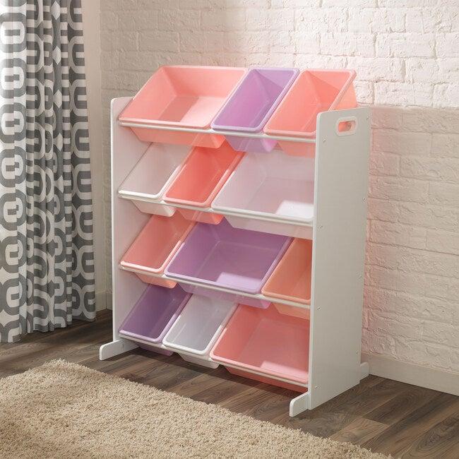 Sort It & Store It Bin Unit, White&Pastel