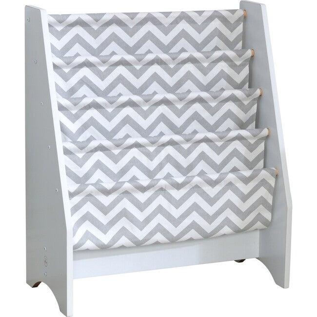 White Sling Bookshelf, Gray Pattern