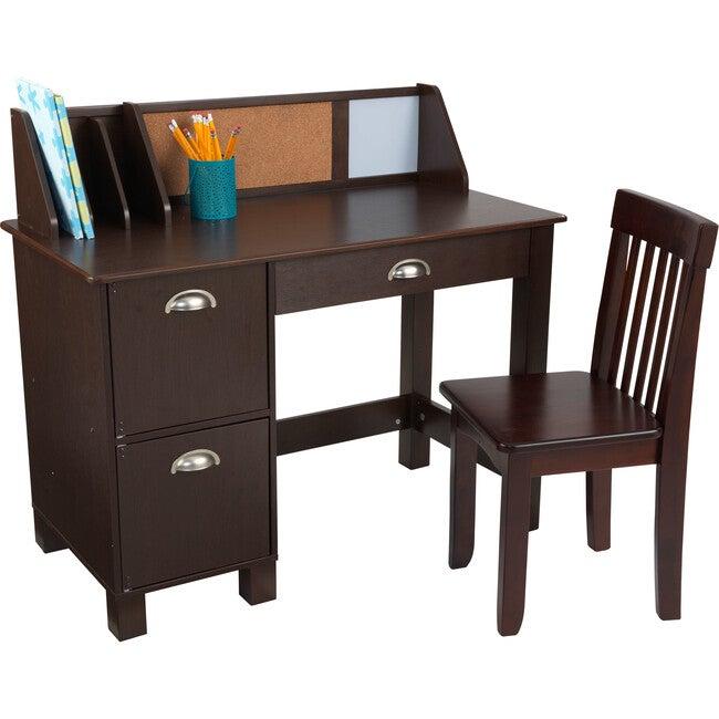 Study Desk With Chair, Espresso