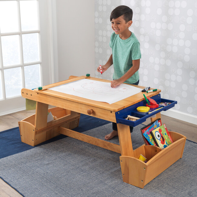 Art Table With Drying Rack & Storage