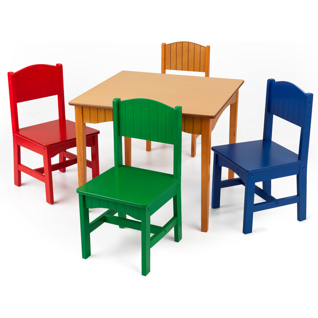 Nantucket Honey Table & 4 Primary Chairs