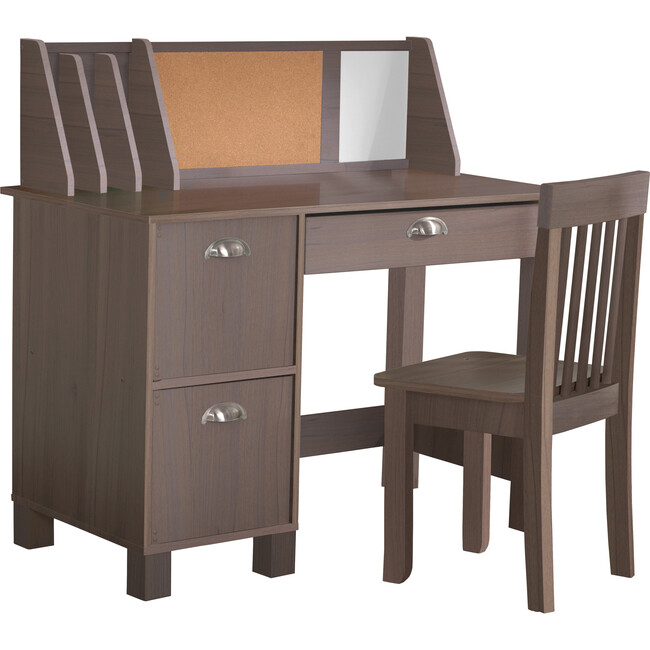 Study Desk With Chair, Rustic Grey