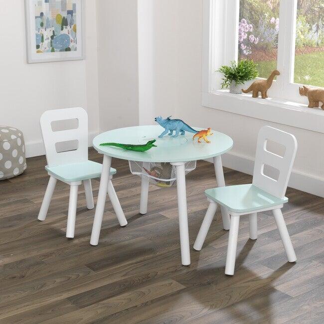 Round Storage Table & Chair Set, Mint