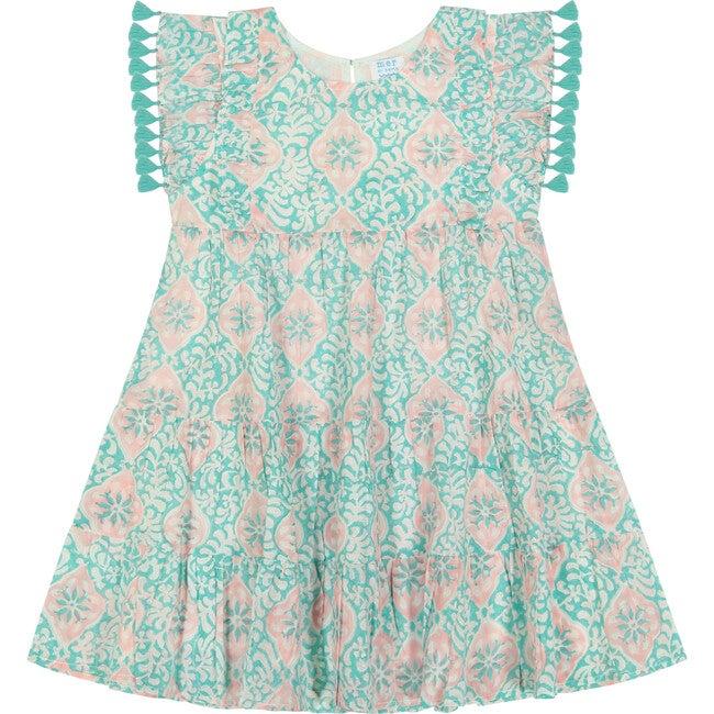 Sophie Tassel Dress, Floral Block Print