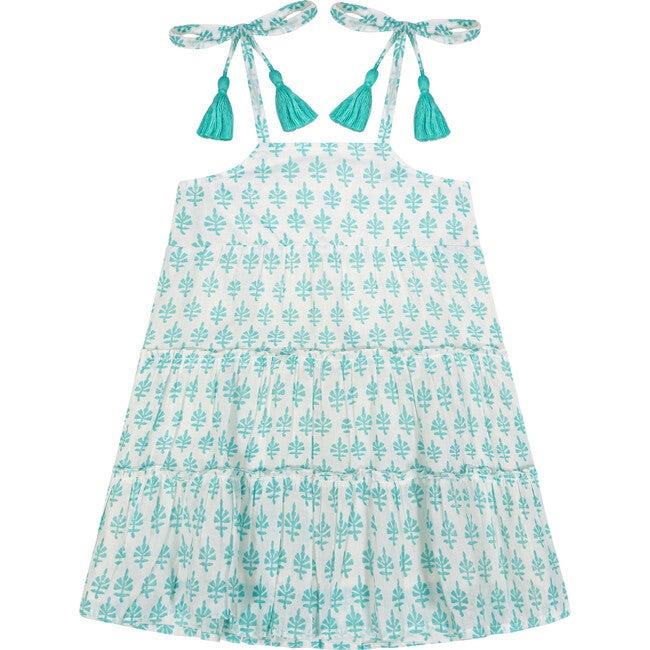 Bella Tassel Tie Sundress, Aqua Block Print
