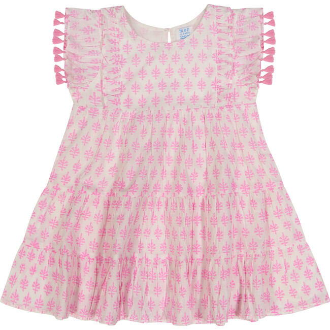 Sophie Tassel Dress, Pink Block Print