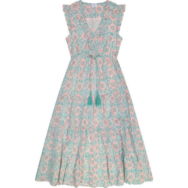 Giselle Women's Maxi Dress, Pink Aqua Floral