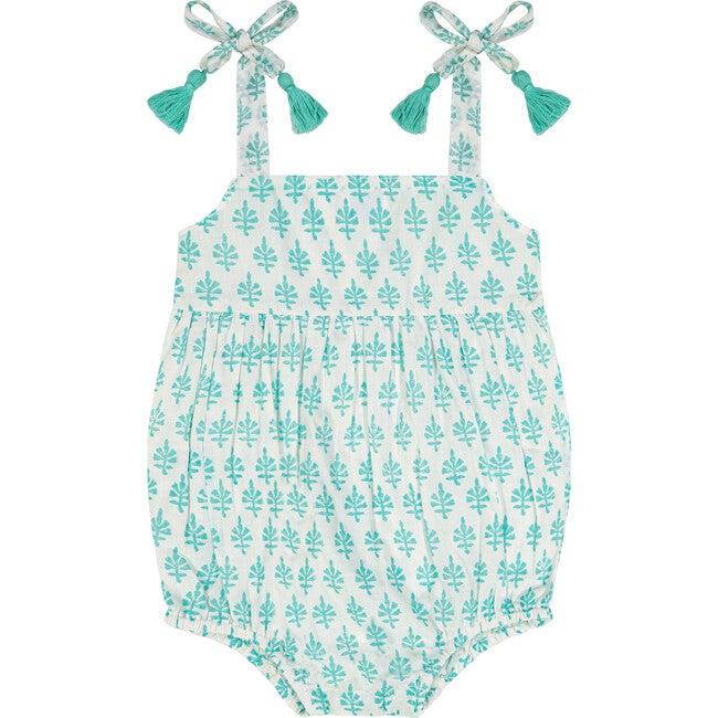 Zoe Baby Tie Romper, Aqua Block Print