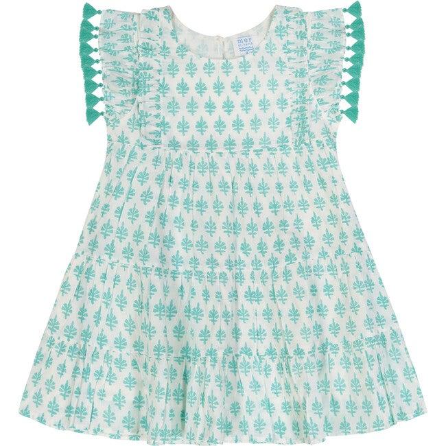 Sophie Tassel Dress, Aqua Block Print