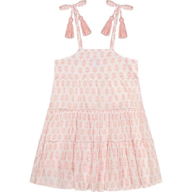Bella Tassel Tie Sundress, Pink Block Print