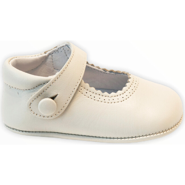 Leather Mary Jane Crib Shoe, Beige